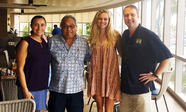 Left to right: Karla Zarate-Ramirez, University of Hawaii Foundation   Executive Director of Development, College of Engineering and College of Natural Sciences; Wendell Oda, Sanford Oda's brother; Alison Bowman, Sanford Oda Memorial Scholarship Recipient 2017; Kris Allegood, Pond