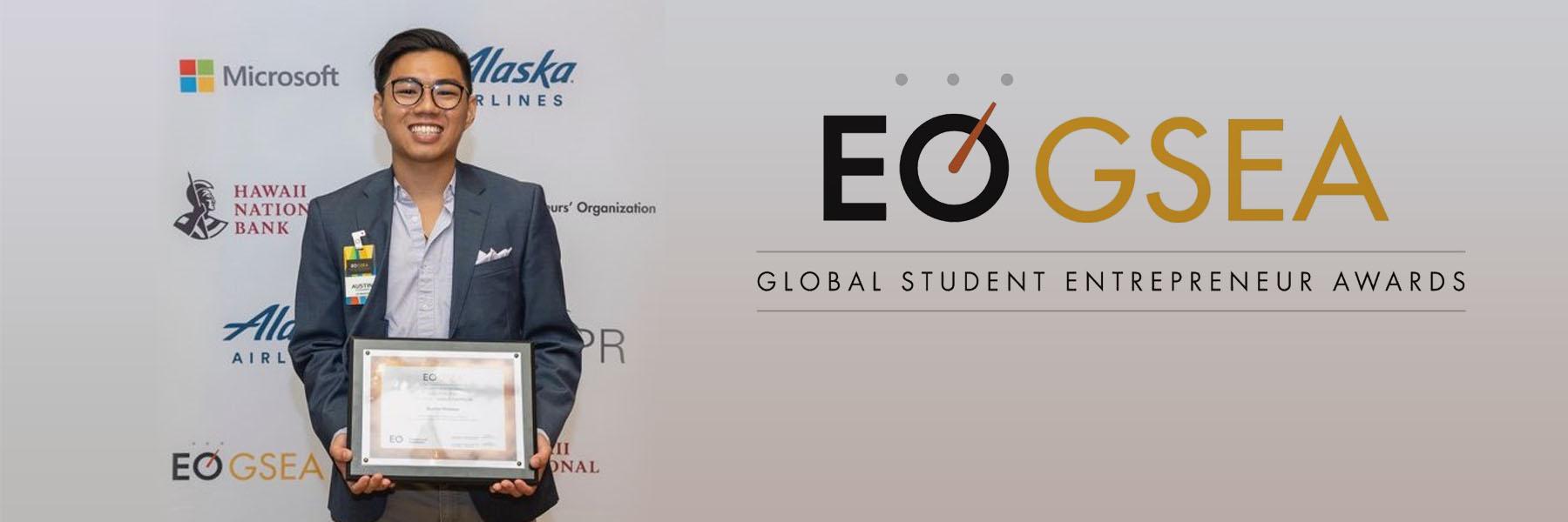 EO GSEA Logo Plus Austin Yoshino Posing With Award.