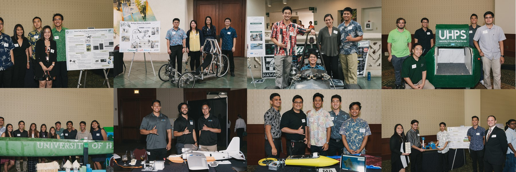 Photos Of Students Posing With Their Research Projects.