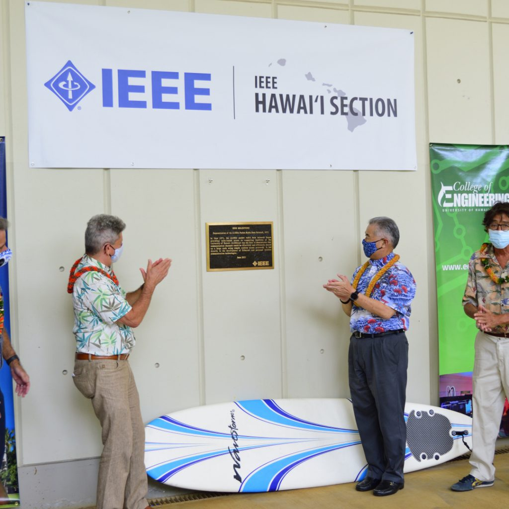 Governor Ige And President Lassner Applaud The Unveiling Of The ALOHAnet Plaque.
