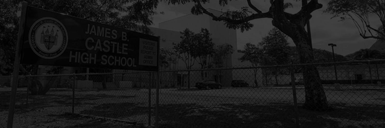 Black & White Photo Of Castle High School In Kaneohe, HI