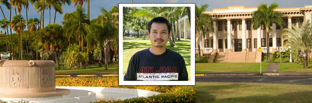 Photo Of Viet Sang Doan In Front Of Photo Of Hawai'i Hall