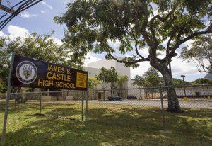 Color photo of James B. Castle High School sign