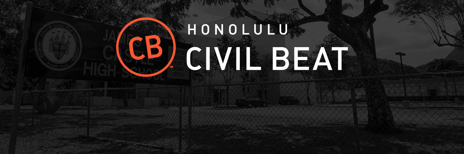 Black & White Photo Of Castle High School In Kaneohe, HI With Civil Beat Logo Over It