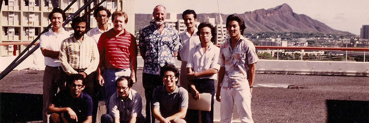 Group Photo Of Students And Professor On The Roof Of Holmes Hall