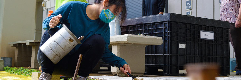 Woman Applying Wet Cement