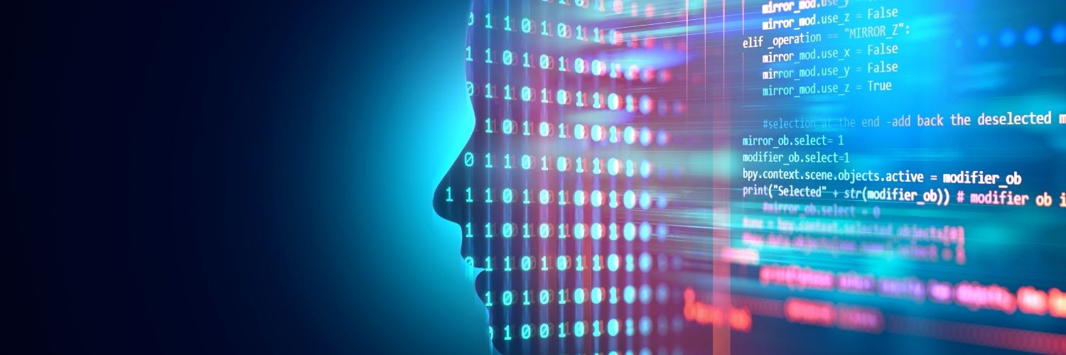 Data/Code Forming The Shape Of A Human Head